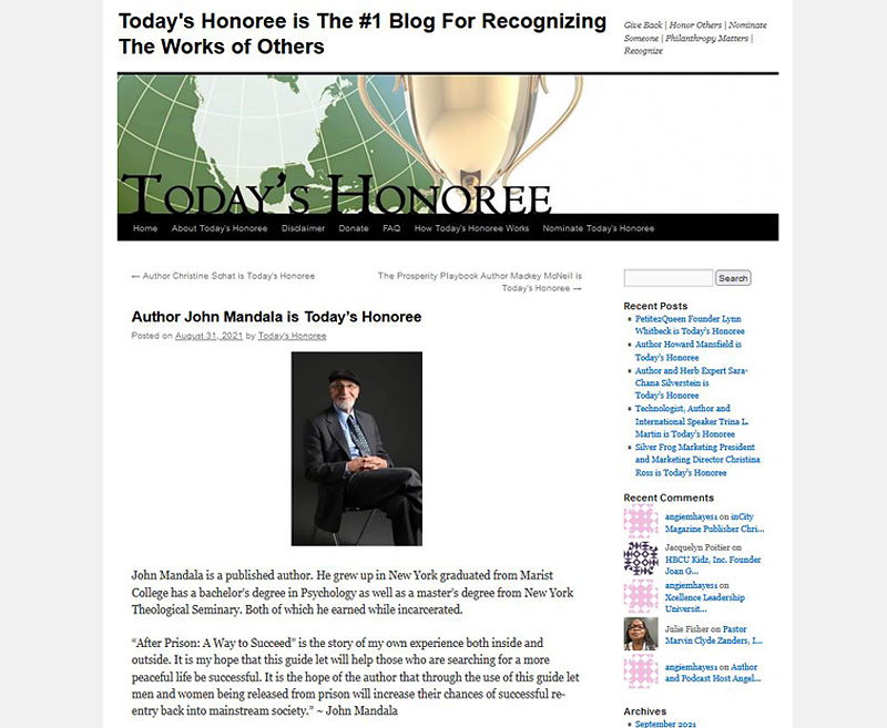 John Mandala Recognized by Today's Honoree Website